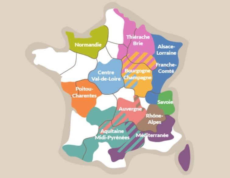 Régions où sont produits les produits laitiers en AOP (@Cnaol)