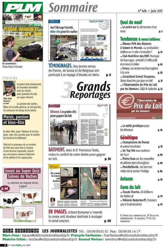 Sommaire PLM n° 424 juin 2011